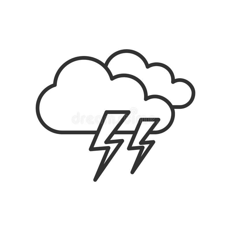 Tempesta con l'icona del profilo dei fulmini su bianco illustrazione di stock