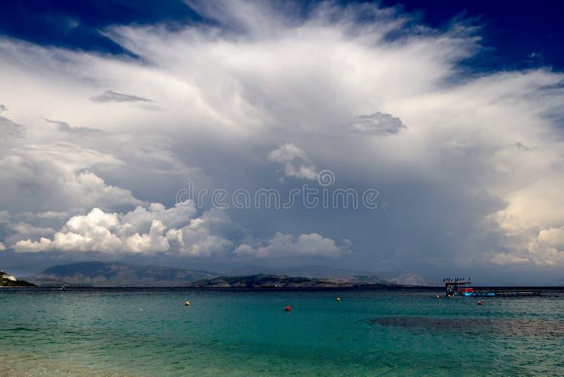 Tempesta d'avvicinamento, Corfù, Grecia fotografia stock