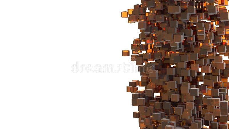 Tempesta dei cubi arancio che cadono dal cielo Estratto e concetto 3D Tema isometrico della geometria Idea creativa per progettaz fotografia stock