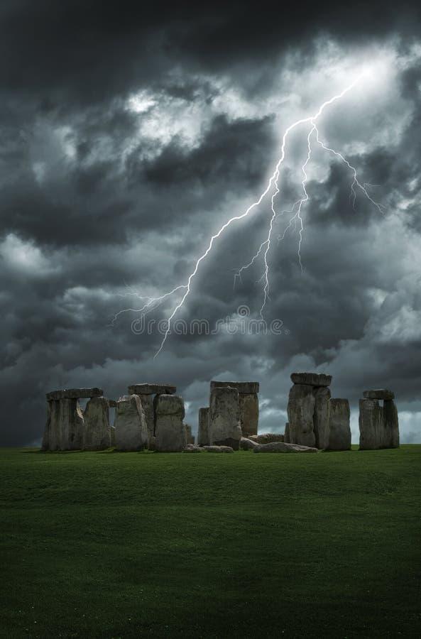 Tempesta del lampo di Stonehenge fotografia stock