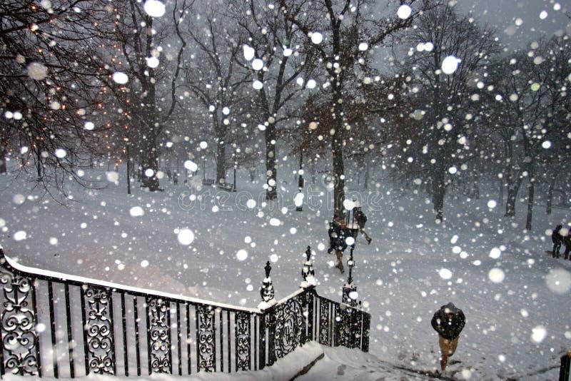 Tempesta della neve di Boston fotografia stock libera da diritti