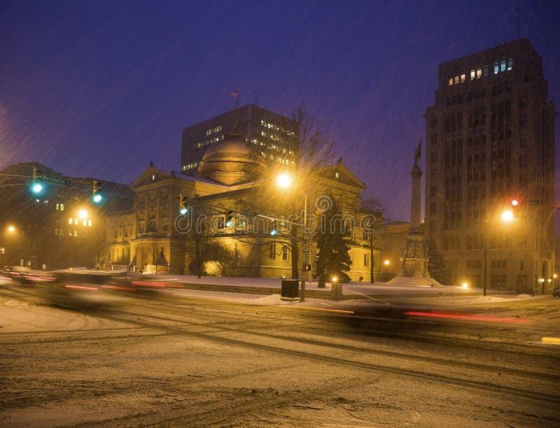 Tempesta della neve in South Bend fotografie stock libere da diritti