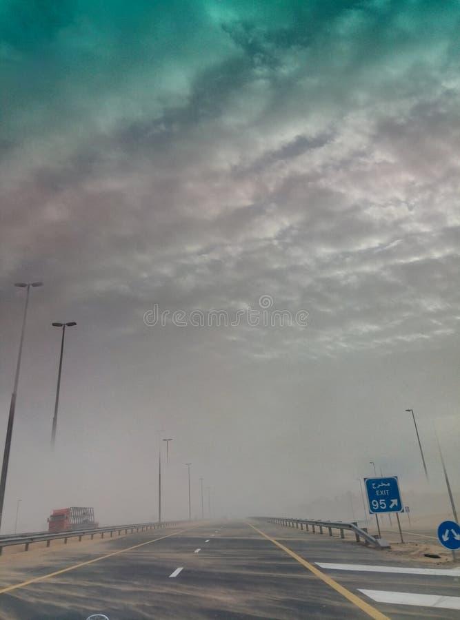 Tempesta di deserto nell'Oman fotografia stock