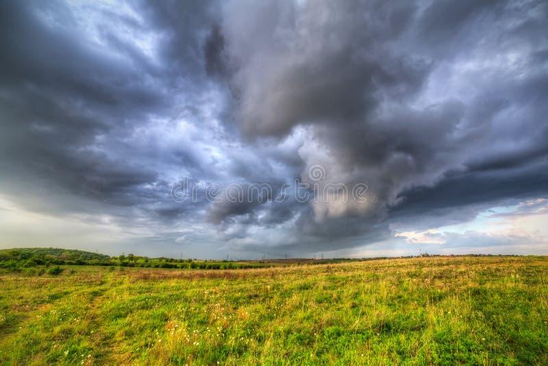 Tempesta di estate sopra il prato fotografia stock