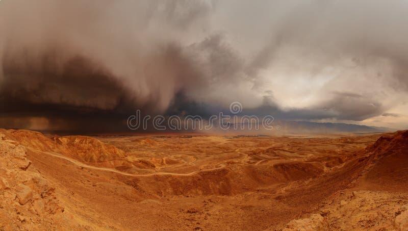 Tempesta di pioggia del deserto fotografia stock libera da diritti