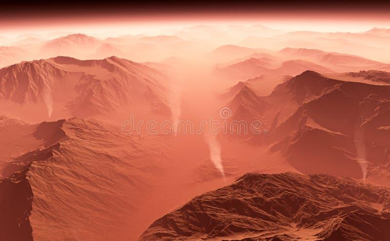 Tempesta di sabbia su Marte illustrazione vettoriale
