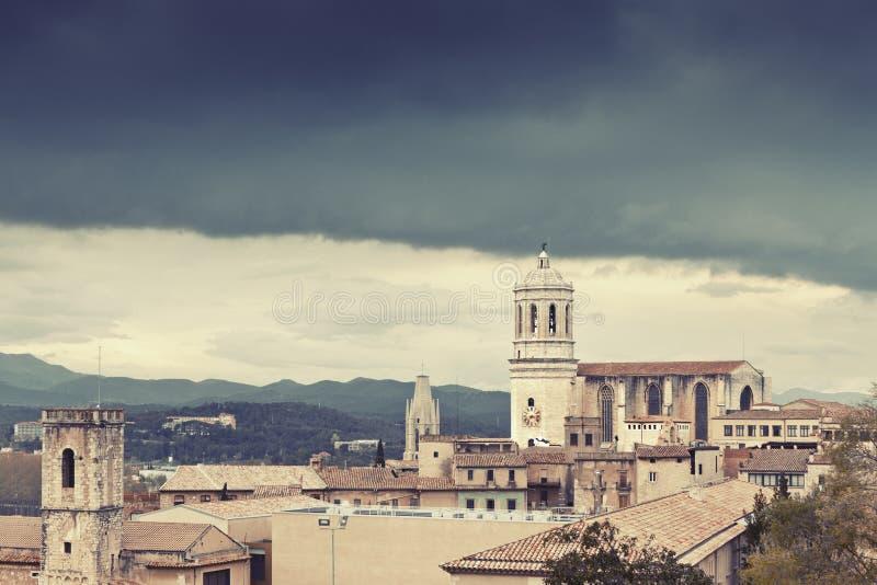Tempesta a Girona fotografia stock