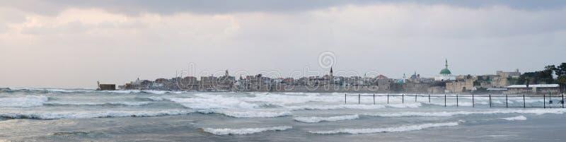 Tempesta nella baia di Haifa fotografie stock libere da diritti