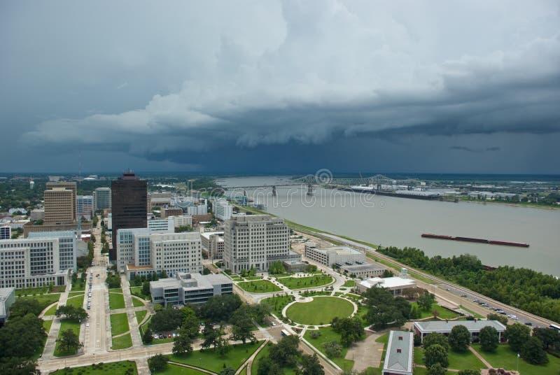 Tempesta sopra il fiume Mississippi immagine stock