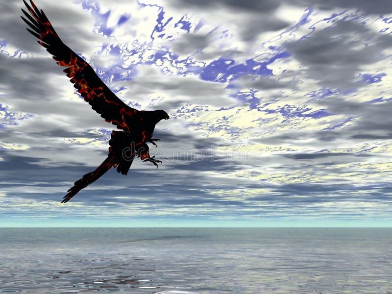 Tempestade da águia do incêndio ilustração stock