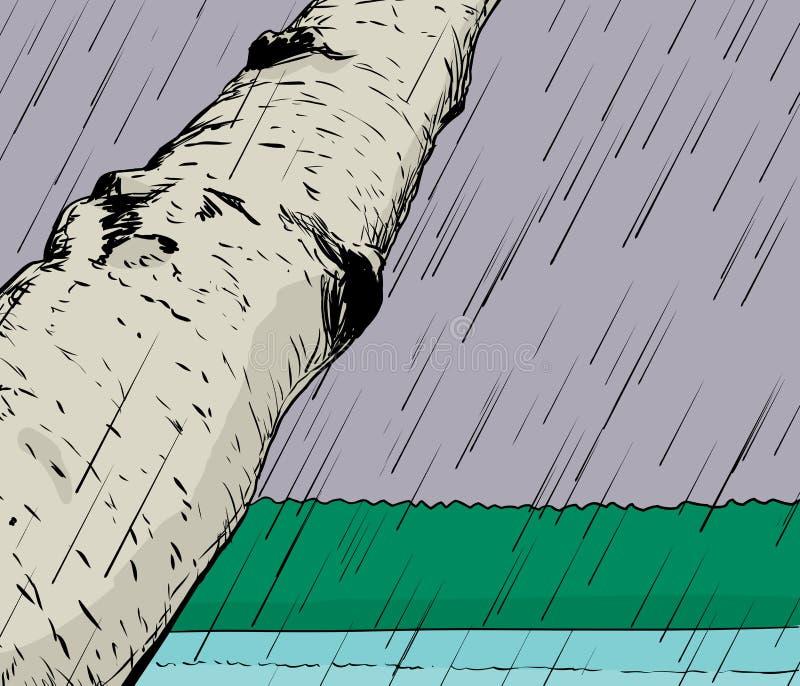Tempestade da chuva no fundo da região selvagem ilustração do vetor