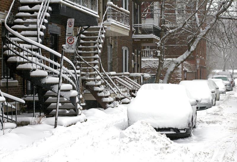 Tempestade da neve de Montreal imagem de stock