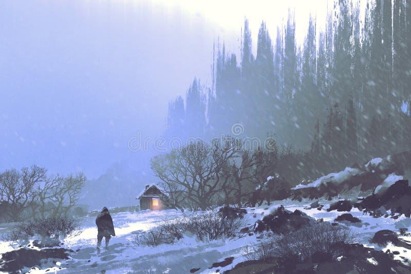 Tempestade da neve e um homem que anda à casa de madeira ilustração royalty free