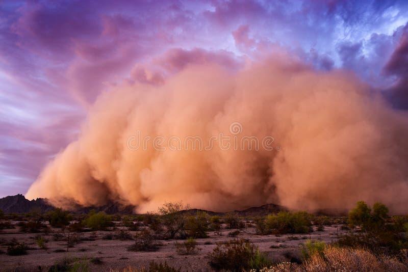 Tempestade da poeira de Haboob no deserto do Arizona imagem de stock