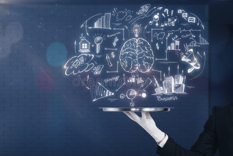 Tempestade de cérebro e conceito do mercado ilustração royalty free
