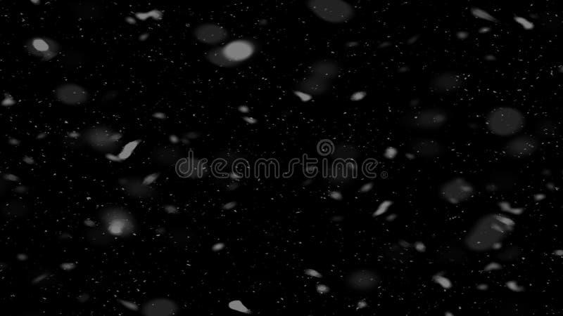 A tempestade de neve cobre a textura Bokeh ilumina-se no fundo preto, tiro de flocos de neve do voo no ar ilustração do vetor