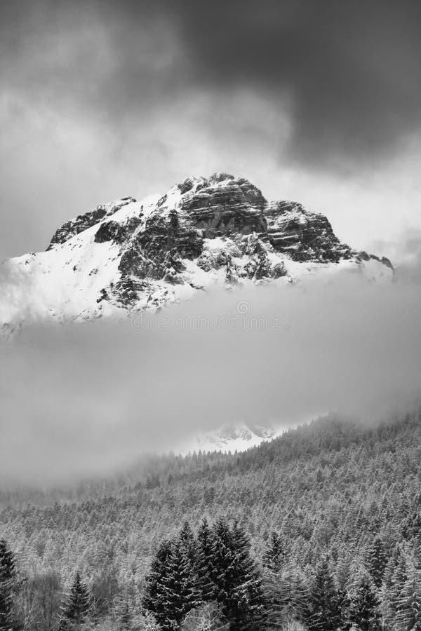 Tempestade de neve sobre Paganella Mountain em Dolomites, Itália imagem de stock royalty free