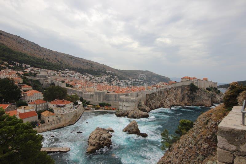 Tempestade Dubrovnik, Croácia dalmatia imagens de stock