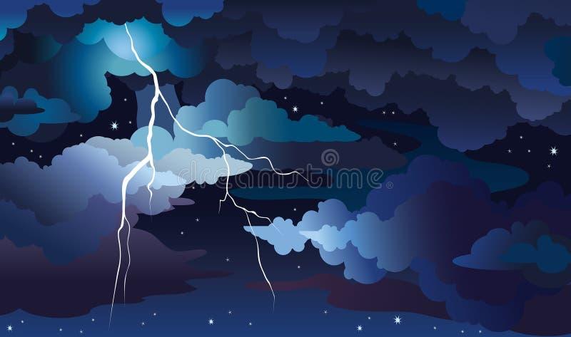 Tempestade e relâmpago da noite em um céu ilustração do vetor