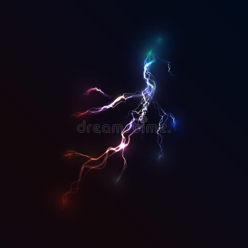 Tempestade elétrica Um flash brilhante do close up do relâmpago ilustração stock
