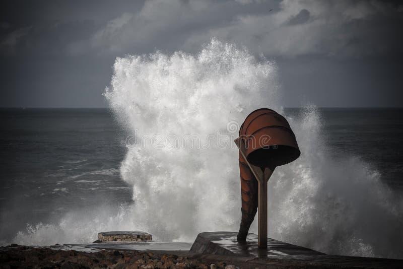 Tempestade: En temporal um Coruña foto de stock