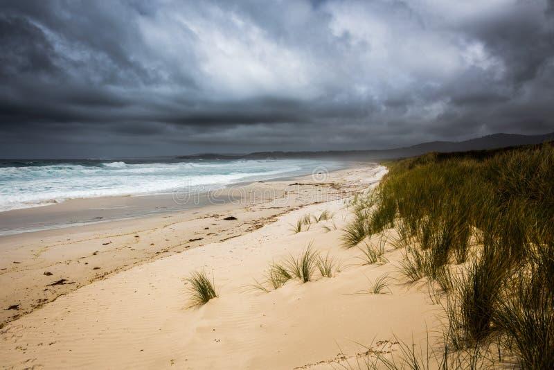 Tempestade entrante na baía dos fogos, Tasmânia, Austrália imagens de stock royalty free