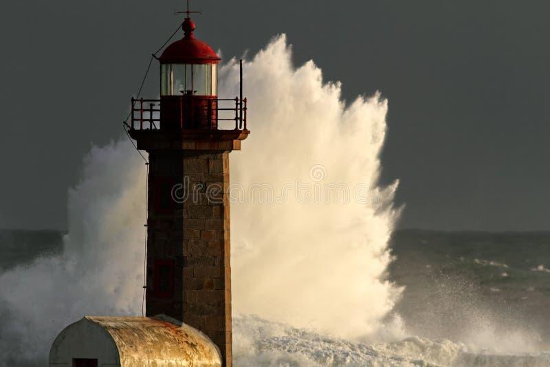 Tempestade no farol foto de stock royalty free