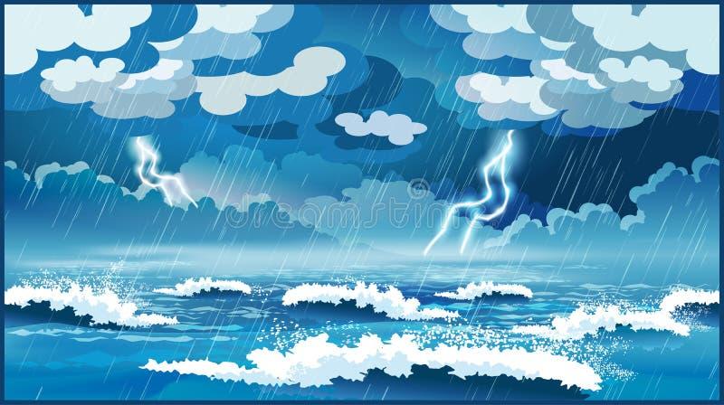 Tempestade no mar ilustração royalty free
