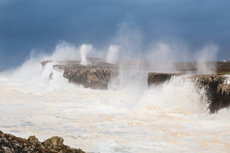 Tempestade no penhasco, Bufones imagem de stock