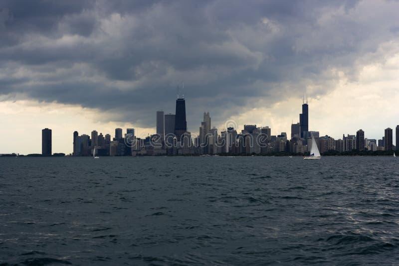 Tempestade sobre Chicago fotos de stock
