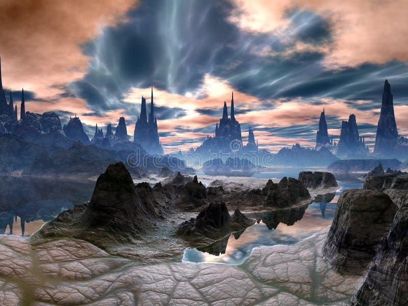Tempestades elétricas sobre torres da rocha no mundo estrangeiro ilustração stock