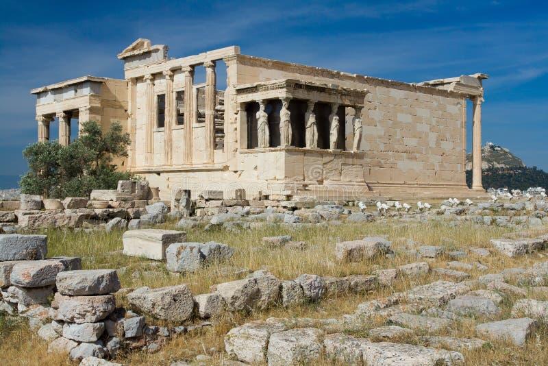 Tempiale antico Erechtheion in acropoli Atene Gre fotografie stock libere da diritti
