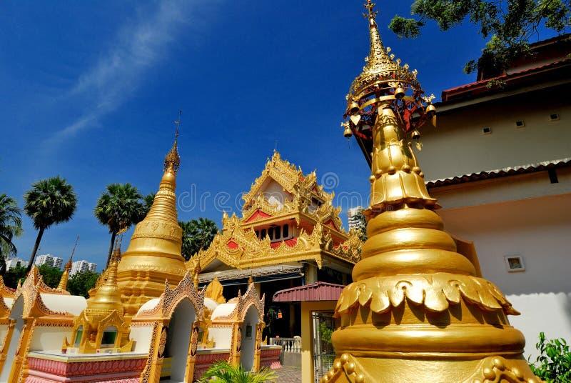 Tempiale del birmano di Dharmikarama immagini stock libere da diritti