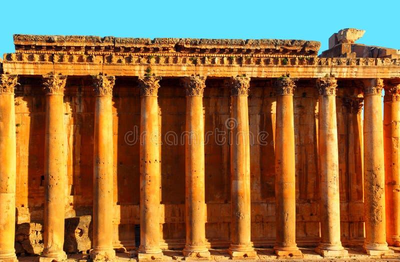 Tempiale del Jupiter sopra cielo blu, Baalbek, Libano immagini stock libere da diritti
