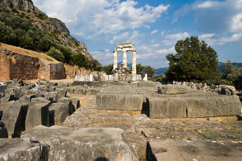 Tempiale di Athena a Delfi fotografia stock