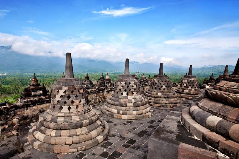 Tempiale di Borobudur a Jogjakarta fotografia stock libera da diritti