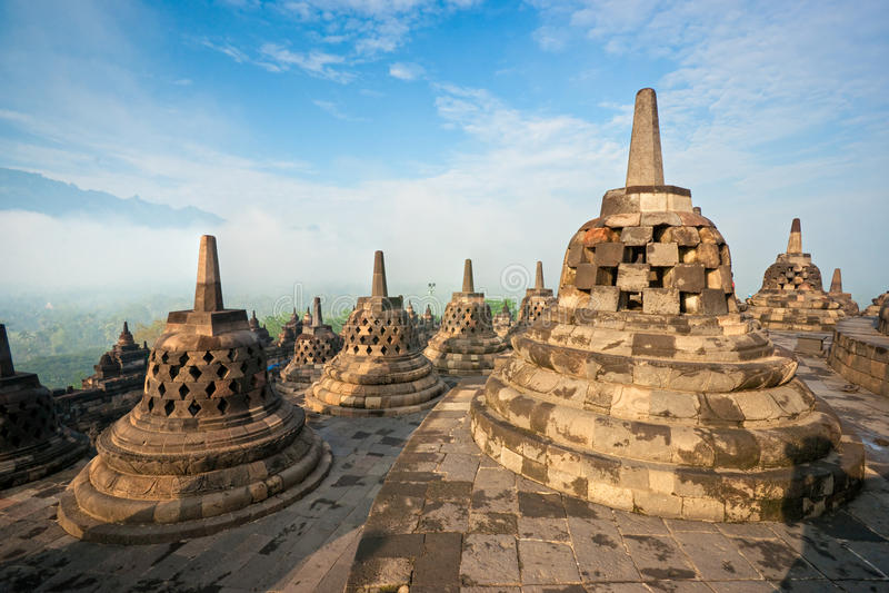 Tempiale di Borobudur, Yogyakarta, Java, Indonesia. fotografia stock libera da diritti