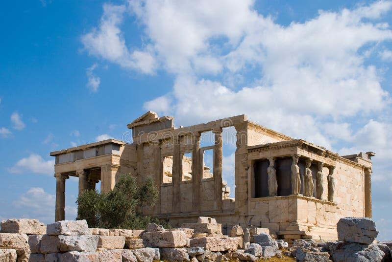 Tempiale di Erecthion sull'acropoli fotografia stock libera da diritti
