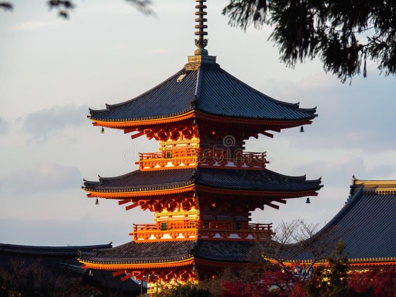 Tempiale di Kiyomizu-dera a Kyoto, Giappone immagine stock