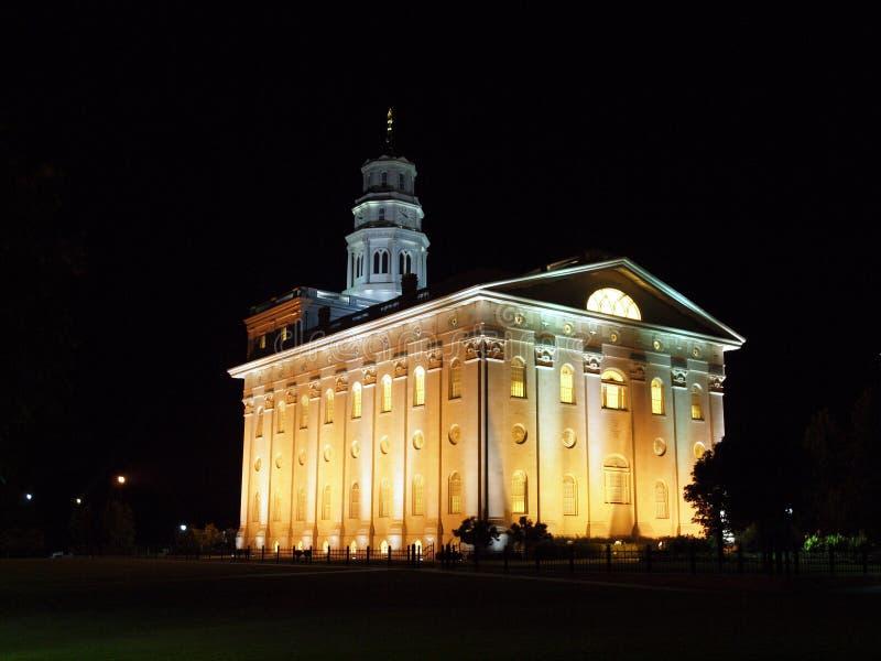Tempiale di Nauvoo alla notte fotografie stock