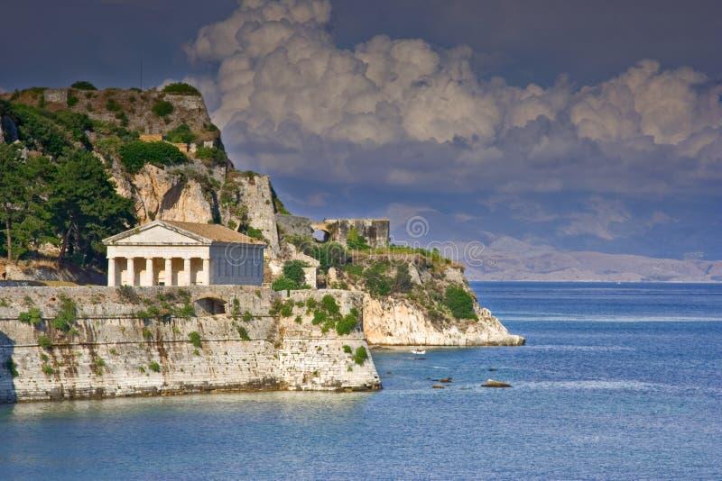 Tempiale ellenico all'isola di Corfù fotografia stock libera da diritti