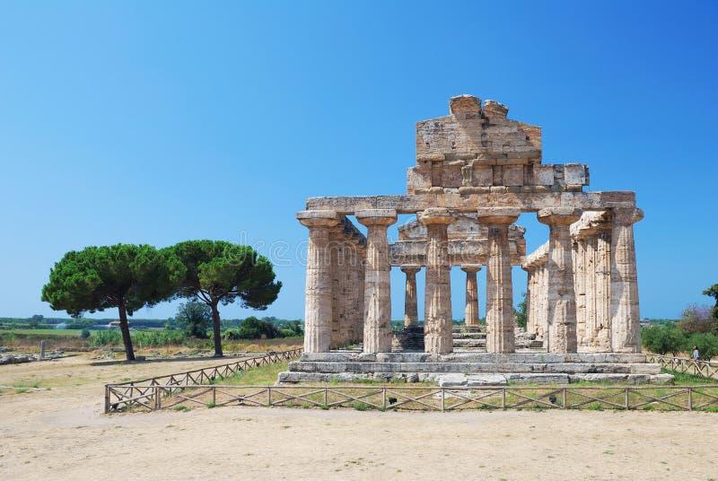 Tempiale greco in Paestum, Italia fotografie stock