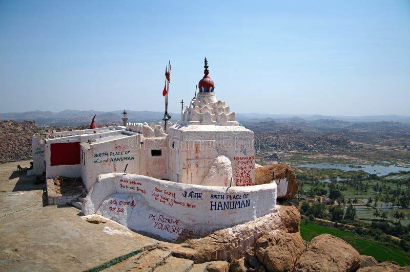 Tempiale sulla collina di Anjaneyaâs, Hampi di Hanuman fotografie stock libere da diritti