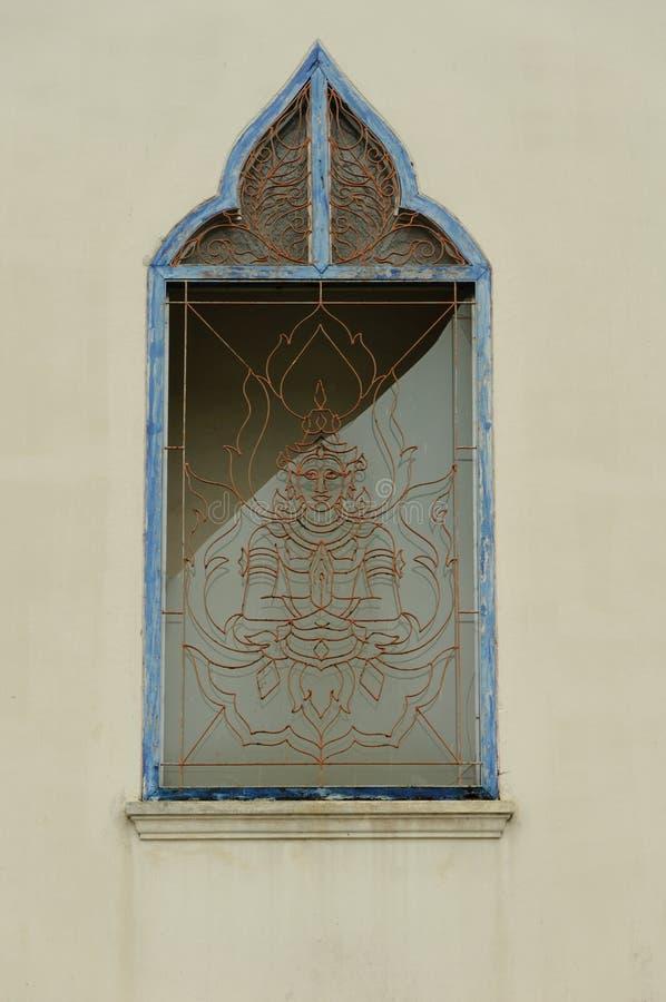 Tempiale tailandese tradizionale della finestra di stile immagine stock libera da diritti