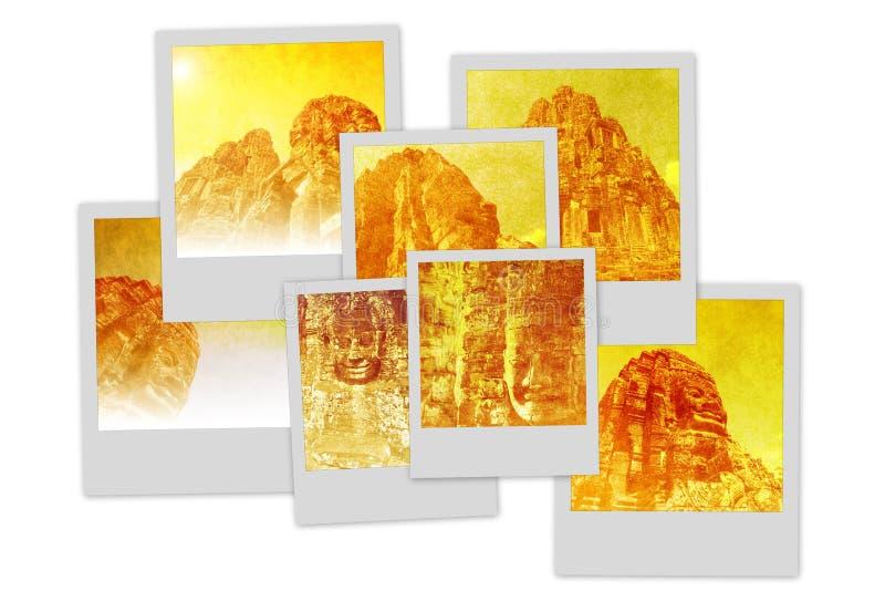 Tempie del mucchio del Polaroid di Angkor fotografia stock