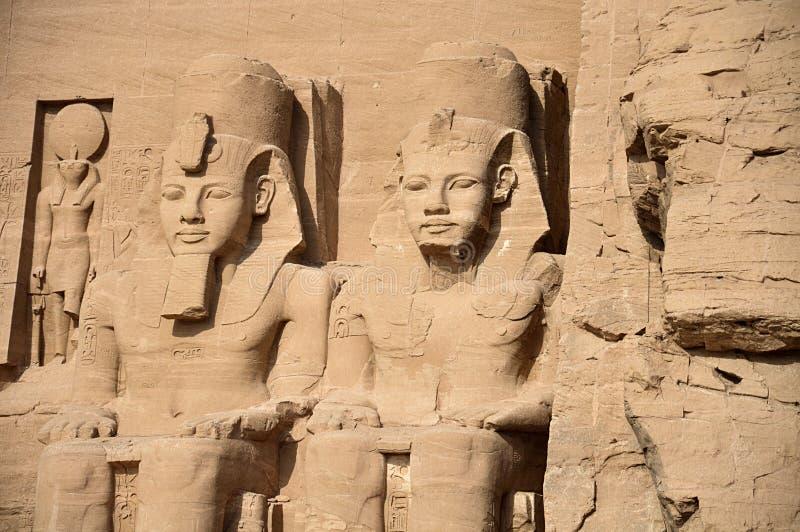 Tempie di Abu Simbel, Egitto del sud antico immagine stock