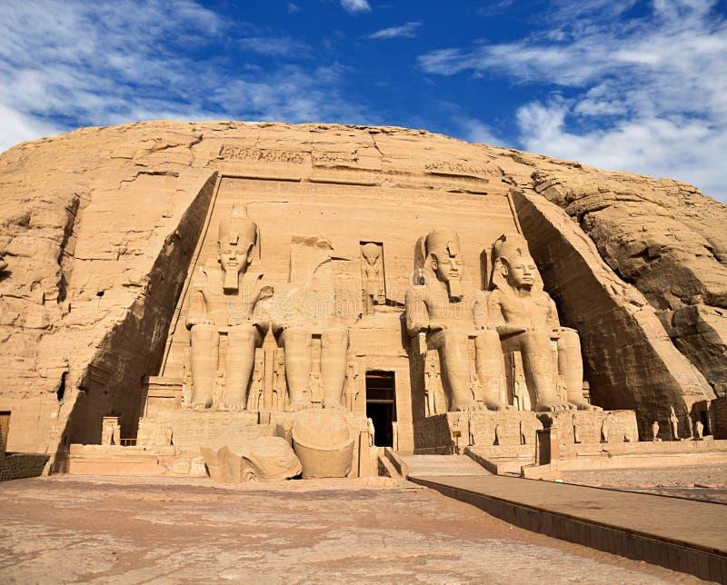 Tempie di Abu Simbel, Egitto del sud antico fotografia stock libera da diritti