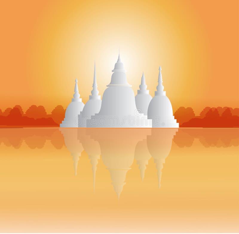 Tempie e pagode nel bello paesaggio fotografia stock libera da diritti