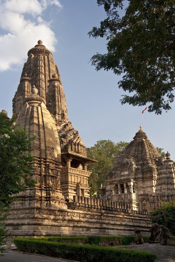 Tempie indù a Khajuraho in India fotografia stock libera da diritti