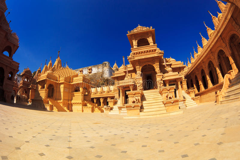 Tempie Jain in Palitana fotografia stock libera da diritti